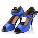 hesapli Latin Dans Ayakkabıları-Kadın's Dans Ayakkabıları Sentetikler Latin Dans Ayakkabıları Payet Topuklular İnce Topuk Kişiselleştirilmiş Mavi / Performans / Deri
