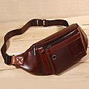 cheap Belt & Waist Bags-Men's Zipper Nappa Leather Waist Bag / Waistpack Solid Color Black / Coffee / Fall & Winter