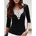 olcso rejtegető & Contour-Alkalmi V-alakú Női Póló - Hímzés Fekete-fehér