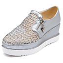 hesapli Kadın Düz Ayakkabıları ve Makosenleri-Kadın's Ayakkabı PU Yaz Mokasen & Bağcıksız Ayakkabılar Creepers Günlük için Beyaz / Gümüş