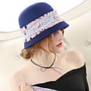 hesapli Lolita Aksesuarları-Muhteşem Bayan Maisel Cloche Şapkası şapka Bayan Vintage 1950'ler Kadın's Mavi Zıt Renkli Kapak Yün Kostümler