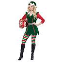 זול תחפושות מהעולם הישן-שמלת חג המולד סנטה לבוש בגדי ריקוד גברים בגדי ריקוד נשים מבוגרים חג מולד חג המולד ראש השנה פסטיבל / חג לייקרה אלאסטייןו תלבושות ירוק חג מולד