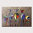 tanie Obrazy olejne-Hang-Malowane obraz olejny Ręcznie malowane - Abstrakcja / Pop art Nowoczesny Zwinięte płótna