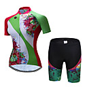 cheap Cycling Jersey & Shorts / Pants Sets-TELEYI Short Sleeve Cycling Jersey with Shorts - Green Bike Breathable, Quick Dry Floral / Botanical / Stretchy
