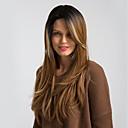 halpa Synteettiset peruukit ilmanmyssyä-Synteettiset peruukit Kihara / Luonnollinen suora Kardashian Tyyli Sivuosa Suojuksettomat Peruukki Musta Musta / Vaaleanpunainen Musta / Ruskea Musta / Valkoinen Synteettiset hiukset 24 inch Naisten