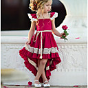 cheap Party Headpieces-Kids Girls' Street chic Party Solid Colored Lace Sleeveless Asymmetrical Polyester Dress Red