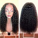 billige Lukning og frontside-Ekte hår U-del Parykk Rihanna stil Brasiliansk hår Krøllet Svart Parykk 130% Hair Tetthet med baby hår Naturlig hårlinje Til fargede kvinner 100% Jomfru Dame Lang Blondeparykker med menneskehår