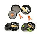 cheap Camp Kitchen-ARDI® Camping Cookware Mess Kit Camping Pot Camping Fry Pan Dinnerware Set Utensils Lightweight Aluminium Alloy Outdoor for Hiking Camping Black Orange Green