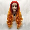 voordelige Synthetische kanten pruiken-Pruik Lace Front Synthetisch Haar Dames BodyGolf Rood Gelaagd kapsel 130% Human Hair Density Synthetisch haar 24 inch(es) Dames / Kleurgradatie Rood Pruik Gemiddelde lengte Kanten Voorkant Oranje