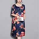 cheap Men's Necklaces-Women's Plus Size Daily Street chic Loose Shift Dress - Floral Print Summer Blue XXL XXXL XXXXL