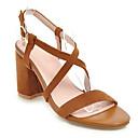 cheap Boys' Shoes-Women's Suede Summer Sweet / Minimalism Sandals Chunky Heel Open Toe Rhinestone Beige / Yellow / Pink