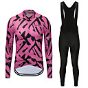 cheap Videogame Costumes-FirtySnow Men's Long Sleeve Cycling Jersey with Bib Tights - White Black Zebra Bike Clothing Suit Fleece Lining Quick Dry Winter Sports Polyester Zebra Mountain Bike MTB Road Bike Cycling Clothing