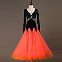 cheap Ballroom Dancewear-Ballroom Dance Dresses Women's Training Nylon / Organza / Tulle Crystals / Rhinestones Long Sleeve High Dress