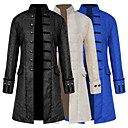 cheap Steampunk-Retro / Vintage Medieval Costume Men's Coat White / Black / Blue Vintage Cosplay Party Prom Long Sleeve Stand