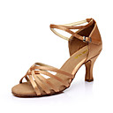 cheap Latin Dancewear-SUN LISA® Women's Latin Shoes / Salsa Shoes PU Leather / Satin Sandal Buckle Customized Heel Customizable Dance Shoes Silver / Brown / Gold / EU40
