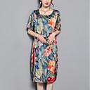 cheap Men's Necklaces-Women's Plus Size Daily Street chic Loose Shift Dress - Floral Print Summer Blue Green Gray XXL XXXL XXXXL
