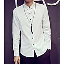 abordables Camisas de Hombre-Hombre Básico Camisa, Cuello Italiano Un Color Blanco L / Manga Larga / Primavera / Otoño