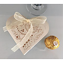 זול מזכרות נרות-Heart Shape נייר טהור מחזיק לטובת עם דוגמא \ הדפס / רצועות קופסאות קישוט - 10pcs