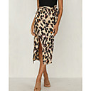 cheap Pendant Lights-Women's Daily Street chic Bodycon Skirts - Leopard Split Brown Beige M L XL / Slim
