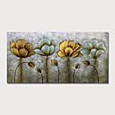 זול שטיחים-ציור שמן צבוע-Hang מצויר ביד - מופשט פרחוני / בוטני מודרני כלול מסגרת פנימית