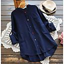 povoljno Modne ogrlice-Veći konfekcijski brojevi Majica Žene Dnevno Pamuk Jednobojni V izrez Širok kroj Plava