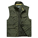 cheap Softshell, Fleece & Hiking Jackets-Men's Hiking Vest Outdoor Spring, Fall, Winter, Summer UV Resistant Quick Dry Breathability Wearable Top Single Slider Fishing Outdoor Exercise Camping / Hiking / Caving Army Green / Khaki
