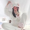 Недорогие Пижамы кигуруми-Взрослые Толстовка Пижамы кигуруми Кролик Цельные пижамы Фланель Белый Косплей Для Муж. и жен. Нижнее и ночное белье животных Мультфильм Фестиваль / праздник костюмы