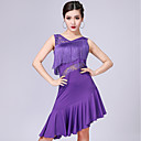 저렴한 라틴 댄스 웨어-라틴 댄스 드레스 여성용 성능 우유 섬유 레이스 / 태슬 민소매 드레스