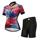 cheap Cycling Underwear & Base Layer-FirtySnow Women's Short Sleeve Cycling Jersey with Shorts - Fuchsia Leaf Bike Clothing Suit Breathable Moisture Wicking Quick Dry Sports Polyester Leaf Mountain Bike MTB Road Bike Cycling Clothing