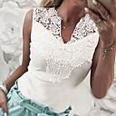 Χαμηλού Κόστους Μοδάτο Δαχτυλίδι-Γυναικεία T-shirt Μονόχρωμο Λαιμόκοψη V Λευκό M
