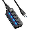 billige USB-hubber og brytere-USB 3.0 to USB 3.0 USB-hub 4 porter Høyhastighet / Med Kontakt (Er)
