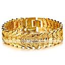 זול שרשראות לגברים-בגדי ריקוד גברים מצוק רחב ציפוי זהב 18 קאראט מסוגנן בסיסי צמידים תכשיטים זהב עבור יומי משרד קריירה