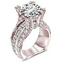 povoljno Modno prstenje-Žene Band Ring Prsten Kubični Zirconia 1pc Obala Rose Gold Kamen Pozlata od crvenog zlata Geometric Shape Četiri drška Stilski Luksuz Europska Vjenčanje Party Jewelry Klasičan Cool