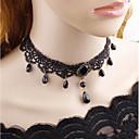 povoljno Modne ogrlice-Žene Choker oglice Klasičan jeftino Vintage Gotika Tekstil Krom Crn 38 cm Ogrlice Jewelry 1pc Za Večer stranka Ulica
