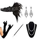 halpa Vanhan maailman asut-Kultahattu 1920-luku Gatsby Asu Naisten Naamiaisasu Helmirannekoru Helmikaulakoru Musta Vintage Cosplay Party Halloween