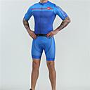 halpa Triathlon-vaatteet-BOESTALK Miesten Lyhythihainen Pyöräily jersey ja shortsit Sininen Pyörä Liikunta-asut Kosteuden siirtävä Nopea kuivuminen Ultraviolettisäteilyn kestävä Urheilu Spandex Muoti Maastopyöräily