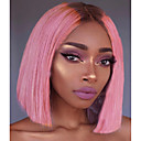 cheap Human Hair Wigs-Unprocessed Human Hair Lace Front Wig Bob Deep Parting Beyonce style Brazilian Hair Silky Straight Pink Wig 150% Density with Baby Hair with Clip With Bleached Knots Pink Women's Short Human Hair