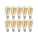 baratos Lâmpadas Filamento de LED-10pçs 4 W 360 lm E26 / E27 Lâmpadas de Filamento de LED ST64 4 Contas LED COB Regulável Branco Quente 220-240 V 110-130 V