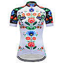 cheap Cycling Jerseys-TELEYI Women's Short Sleeve Cycling Jersey White Floral Botanical Plus Size Bike Jersey Top Breathable Quick Dry Sports Terylene Mountain Bike MTB Road Bike Cycling Clothing Apparel / Micro-elastic