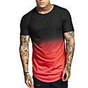 abordables Lecteur MP3-Tee-shirt Taille EU / US Homme, Bloc de Couleur Col Arrondi Noir XL