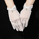cheap Party Gloves-Tulle Wrist Length Glove Pearl Trim Edge / Elegant With Acrylic Diamond / Faux Pearl / Pendant