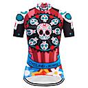baratos Camisas Para Ciclismo-TELEYI Mulheres Manga Curta Camisa para Ciclismo Vermelho Caveiras Tamanhos Grandes Moto Camisa / Roupas Para Esporte Blusas Respirável Secagem Rápida Esportes Terylene Ciclismo de Montanha Ciclismo