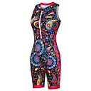 cheap Cycling Jersey & Shorts / Pants Sets-Malciklo Women's Sleeveless Triathlon Tri Suit - Black Floral Botanical Bike Breathable Quick Dry Reflective Strips Sweat-wicking Sports Floral Botanical Mountain Bike MTB Road Bike Cycling Clothing