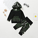 billige Sett med Gutter babyklær-Baby Gutt Fritid / Grunnleggende Trykt mønster Langermet Normal Bomull Tøysett Militærgrønn