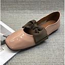 hesapli Kadın Babetleri-Kadın's Ayakkabı Patentli Deri Yaz Günlük / Tatlı Düz Ayakkabılar Düz Taban Dörtgen Uçlu Günlük için Fiyonk Bej / Badem