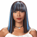 halpa Välineet ja tarvikkeet-Synteettiset peruukit Luonnollinen suora Tyyli Bob-leikkaus Suojuksettomat Peruukki Sininen Vaalean sininen Synteettiset hiukset 14 inch Naisten uusi Sininen Peruukki Keskipitkä Luonnollinen peruukki