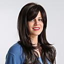 preiswerte Synthetische Perücken ohne Kappe-Synthetische Perücken Kinky Glatt Stil Seitenteil Kappenlos Perücke Braun Schwarz / Braun Synthetische Haare 24 Zoll Damen Synthetik / Gefärbte Haarspitzen (Ombré Hair) / Strähnchen / Balayage-Technik