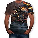 billiga Film- och TV-kostymer-Tryck, Färgblock / 3D / Djur T-shirt Herr