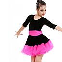 povoljno Egzotična plesna odjeća-Latino ples / Dječja plesna odjeća Haljine Djevojčice Trening / Seksi blagdanski kostimi Poliester / Mrežica / Pleuche Traka / vrpca / Drapirano padajuće / Kombinacija materijala Rukava do lakta