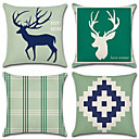 cheap Pillow Covers-4 pcs Cotton / Linen Pillow Case, Plaid / Checkered Geometic Animal Geometric European Style